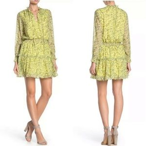 NSR Emma Floral Ruffle Dress Yellow Boho Tiered